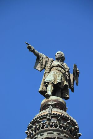Barcelona, Spain - september 29th, 2019: Christopher Columbus monument near la Rambla of Barcelona. Redakční