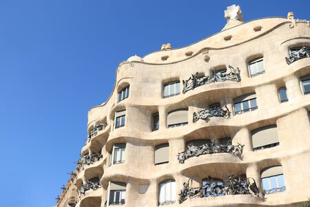 Barcelona, Spain - september 29th, 2019: The Casa Mila,  known as La Pedrera, modernist building designed by architect Antoni Gaudi, built between 1906 and 1910 Redakční
