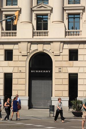 Barcelona, Spain - september 29th, 2019:  Burberry Store in Passeig de Gracia, major avenue in Barcelona in Catalan modernism, Spanish version of Jugendstil, about 1895-1910