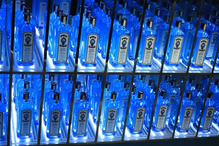 Amsterdam Schiphol Airport, the Netherlands - september 24th 2019: Bombay Sapphire special promotion display in an airport liquor store