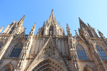 Barcelona, Spain - september 29th, 2019: Gothic Cathedral Barcelona, detail of main entrance