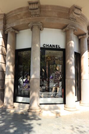 Barcelona, Spain - september 29th, 2019:  Chanel Store in Passeig de Gracia, major avenue in Barcelona in Catalan modernism, Spanish version of Jugendstil, about 1895-1910 Redakční