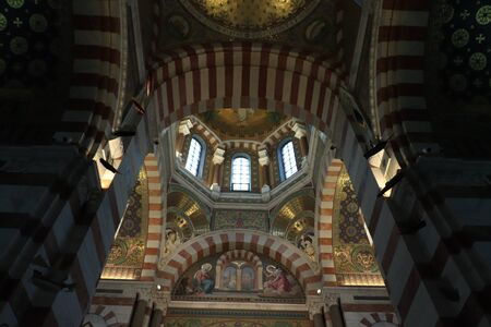 Marseille, France - september 25th 2019: Notre Dame De La Garde cathedral in Marseille, France. Interior Redakční