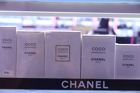 Barcelona, Spain - september 29th 2019: Coco Mademoiselle by Chanel in a perfume store in Maremagnum shopping mall in Barcelona Redakční