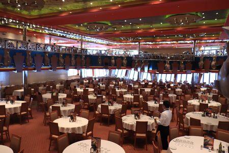 Marseille, France - September, 25th 2019: Costa Magica cruise ship, Costa Smeralda Dining Room