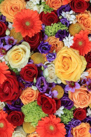 Mixed flower arrangement: floral wedding arrangement in various colors