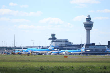 Amsterdam Airport Schiphol, The Netherlands - May 5th 2020: Airport in lockdown. Limited air traffic because of the Corona Covid 19 virus