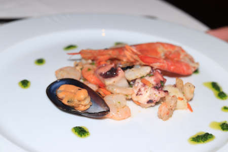 Various sorts of seafood on a plate