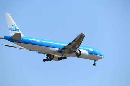 Amsterdam, the Netherlands - August, 7th 2020: PH-BQB KLM Royal Dutch Airlines Boeing 777, final approach to Polderbaan runway at Schiphol Amsterdam Airport, the Netherlands