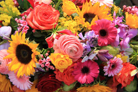 Mixed bouquet in bright colors, various flowers