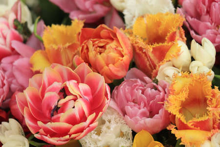 Tulips in various colors and shapes in a fresh spring bouquet
