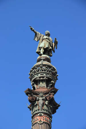 Christopher Columbus monument near la Rambla of Barcelona.