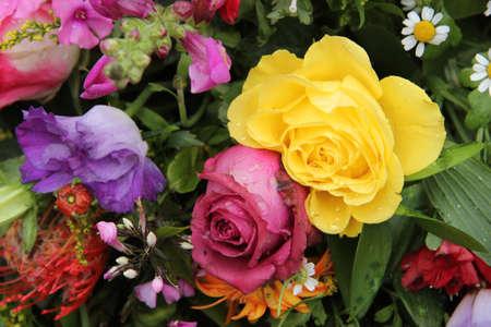 Mixed floral arrangement in bright colors