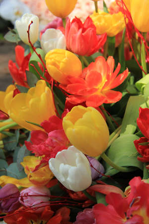 Tulip bouquet in yellow, red and orange