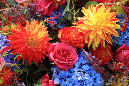 Autumn wedding flower arrangement in bright colors