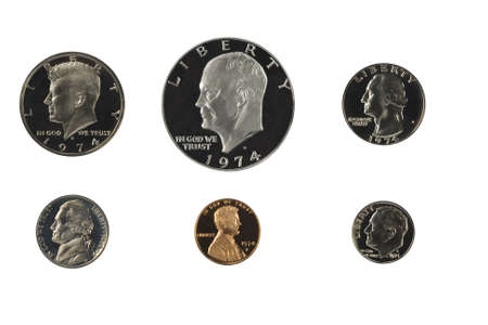dime:  US coins proof set isolated on white