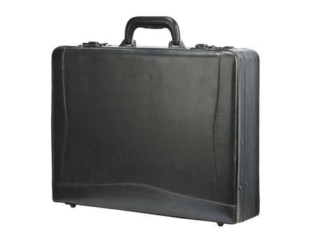business briefcase: Black leather briefcase isolated on white