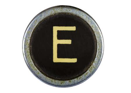 Vintage typewriter letter E isolated on white Stock Photo - 10554565