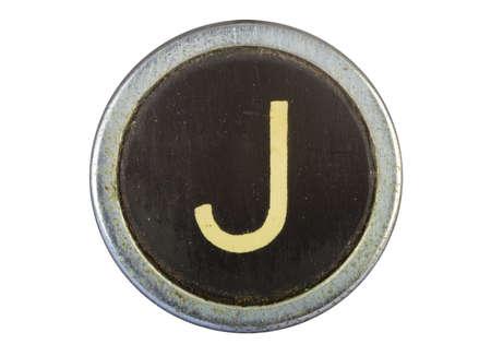 Vintage typewriter letter J isolated on white Stock Photo - 10567120