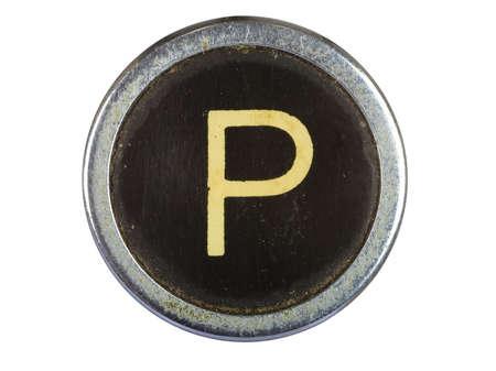 Vintage typewriter letter P isolated on white Stock Photo - 10567123