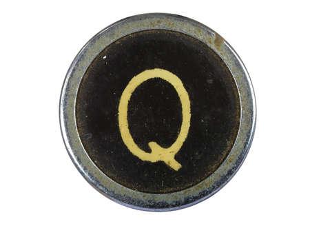 Vintage typewriter letter Q isolated on white Stock Photo - 10567116