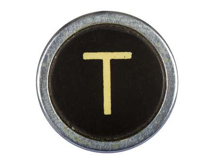 Vintage T lettre de machine à écrire isolé sur blanc Banque d'images - 10567109