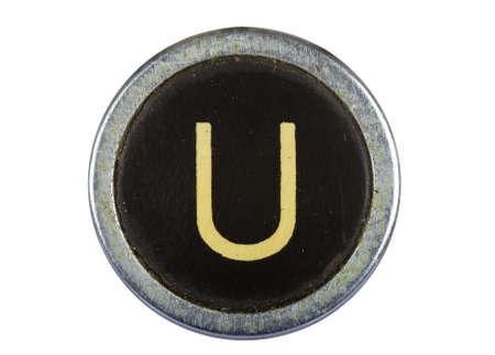 rust: Vintage typewriter letter U isolated on white Stock Photo