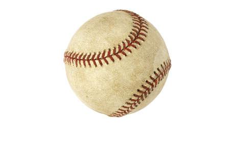 Old used baseball isolated on white Stock Photo