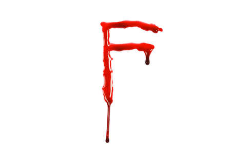 Dripping blood fonts the letter F Stok Fotoğraf - 14733060