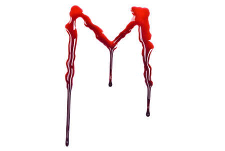 Dripping blood fonts the letter M photo