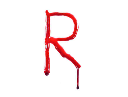 Dripping blood fonts the letter R photo