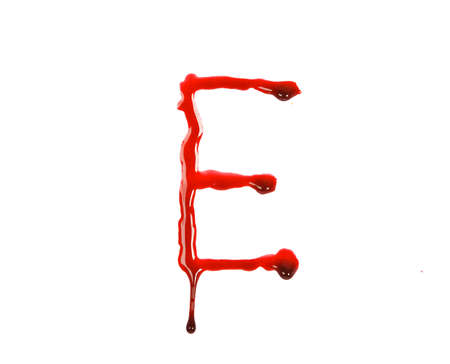 Dripping blood fonts the letter E Stock Photo