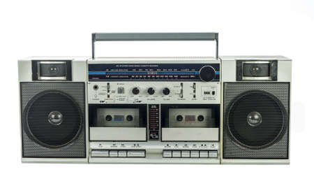 retro ghetto blaster isolated on white photo