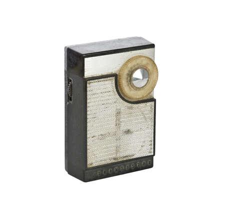 transistor: 1960 era de s del transistor de radio aislado en un fondo blanco Foto de archivo