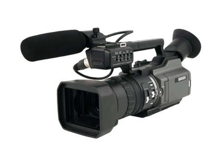 customer records: Prosumer camcorder isolated on white Stock Photo