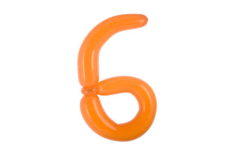 Twisted balloon font number part of full set number 6 Stock fotó
