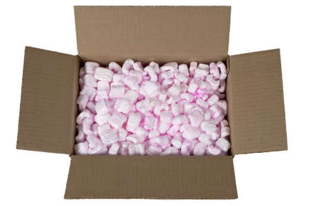 styrofoam: Open cardboard box with packing peanuts isolated on white Stock Photo