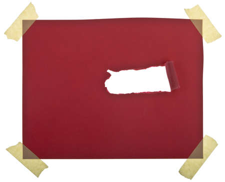 Ripped red paper against a white background Banco de Imagens