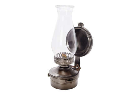 Antique oil lamp isolated on white