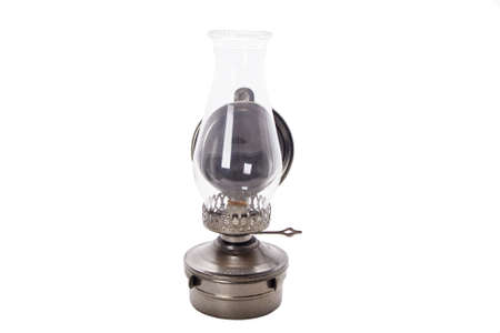 kerosene lamp:  Antique oil lamp isolated on white