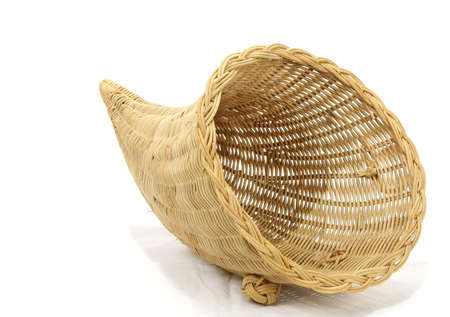 horn of plenty: Empty cornucopia basket