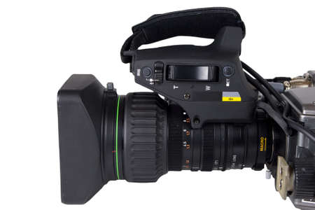 media gadget: Professional Video Camera lens isolated on white  Stock Photo
