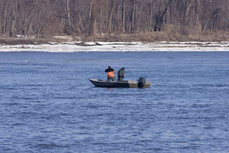 erie: Fishing on cold day with net