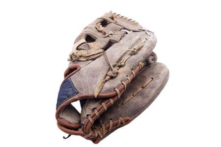 guante de beisbol: Guante desgastado y usado béisbol aislado en blanco Foto de archivo