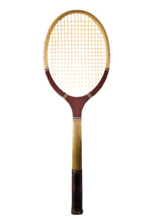 Old vintage tennis racket isolated on white  Banco de Imagens