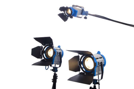 reflector: Lighting equipment Three lamps lit, Isolated on white   Stock Photo