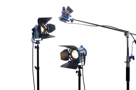 spotlight stage: Lighting equipment Three lamps lit, Isolated on white   Stock Photo