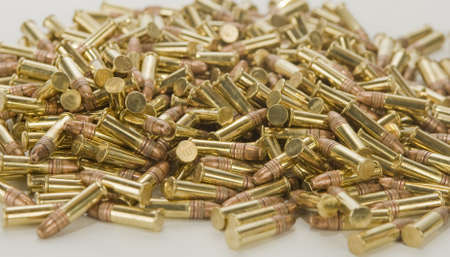 Pile of bullets background narrow depth of field  Stock Photo