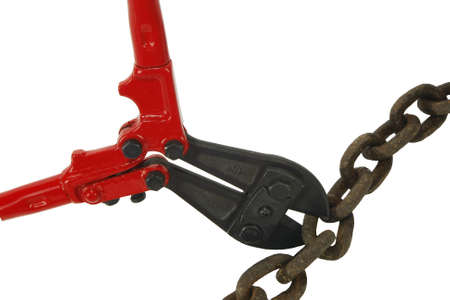 Bolt cutters breaking rusty chain Stock Photo - 14884501