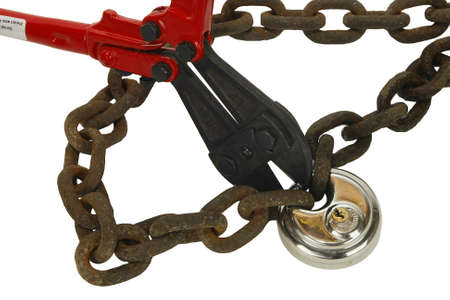 rusty chain: Rusty chain with new lock and bolt cutters Stock Photo